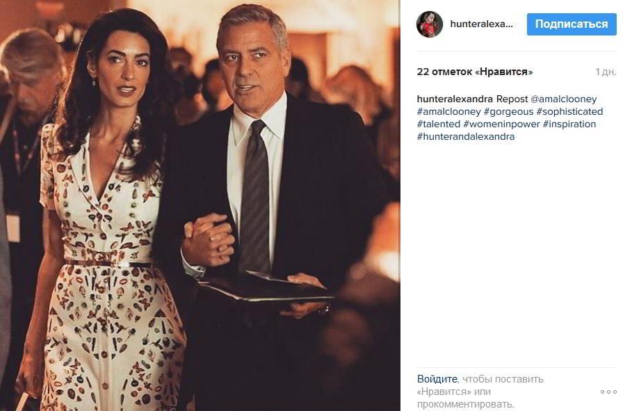 Джордж Клуни вышел всвет сбеременной супругой